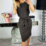 2018 Summer Fashion Women's Sheath Dresses Sexy Bodycon Party Dress Casual O-Neck Short Sleeve Tunic Vintage Knee-Length Vestido - thefashionique