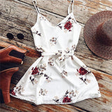 2018 Summer Floral Dress Women Sexy Beach Tank Top Sundresses White Casual Elegant  Mini Party Dresses Vestidos - thefashionique