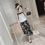 2018 Summer Girls Set Clothes Children's Clothing Sets Fashion Baby Girl Shirt White Top+Flowers Shorts Kids Suits 2pcs For 4-9Y - thefashionique