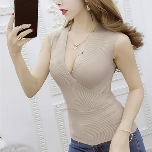 2018 Summer Ladies tanks T Shirt Women Sleeveless Tank Top Sexy Low-cut V-neck ribbed Knitting camis shirt Vest blusas femininas - thefashionique