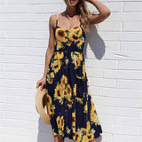 2018 Summer New Fashion dresses Sexy Sunflower pineapple floral Printing Buttons Off Shoulder Sleeveless Dress Princess Dress - thefashionique