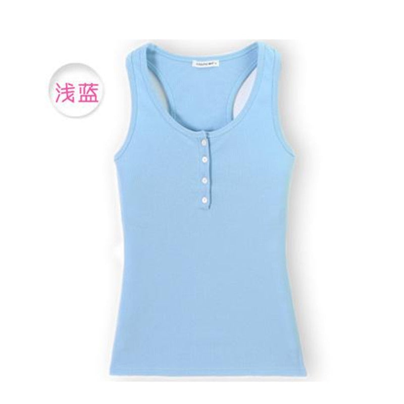 2018 Summer New Style Camisole Women's Skinny Sleeveless Sexy T-shirt Casual Fashion Buttons Low-cut Tank Top - thefashionique