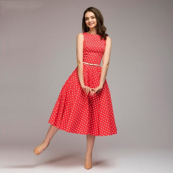 2018 Summer New sleeveless women dress O-neck vestidos Women elegant thin dot printing Mid-Calf casual dress Female - thefashionique