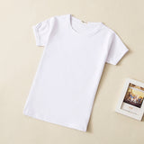 2018 Summer Newborn Baby T Shirts Blank Top Tees Short Sleeve White Black Cotton T Shirt For Kids Boy Girl Clothing 0-10Years - thefashionique
