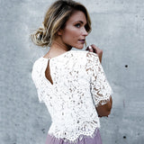 2018 Summer Sexy Women Blouse Tops New Female Casual Solid Blusas Half Sleeve Shirt Ladies White Floral Lace Holow Out Blouse - thefashionique