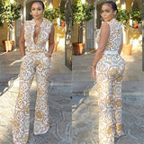 2018 Summer Wide Leg Pant Women Rompers Jumpsuits African Print Clothing Casual Sexy Deep V neck Tunic Party Overalls W333 - thefashionique