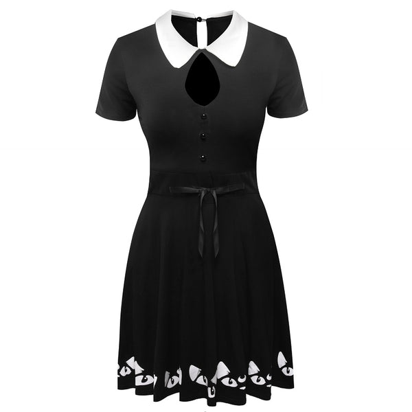 2018 Summer Women Dress Peter Pan Collar Cotton Hollow Out Cats Printing Hem Female Dress - thefashionique