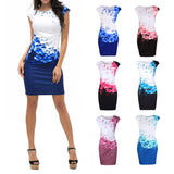 2018 Summer Women Fashion Dress Plus Size Sexy the Neck Print Elegant Sleeveless Formal Party Evening Pencil Mini Dresses - thefashionique