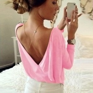 2018 Summer Women's Fashion Back Open Cross Blouse Shirt Tops Ladies Casual Loose Long Sleeve Sexy Backless Solid Top Blouses - thefashionique