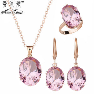 2018 Top Quality Luxury Rose Gold Engagement Jewelry Sets Cubic Zircon for Women Bridal Wedding Earrings Sets with rings - thefashionique
