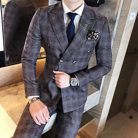 2018 Vintage Plaid Suits Grey Vintage Double Breasted Suits Mens Purple Dinner Jackets Mens Suits British Style Terno Slim Fit