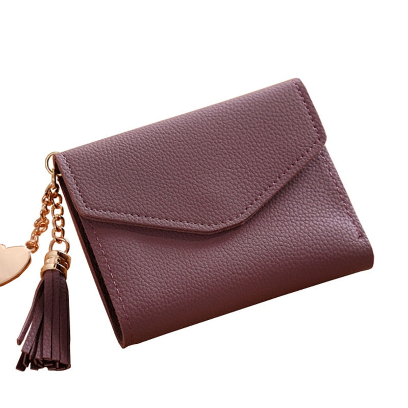 2018 Wallet New Fashion Women Simple Short Tassel Coin Purse Wallet Card Holders Handbag Wallet Female Famous Femme Carteira - thefashionique