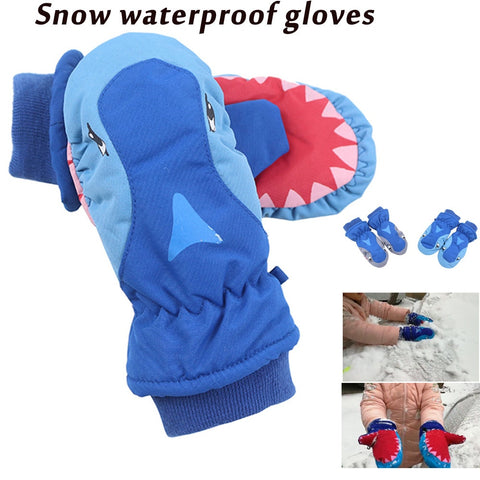 2018 Winter Children Gloves Cute Skiing Shark Thickening Play Snow Waterproof Lovely Outdoor Warm Gloves Accessories - thefashionique