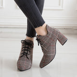 2018 Winter New Stryle Women Boots Plaid Ankle Boots Lace UP Booties Jacquard Fabric Woman Shoes High Heels Botas Mujer 6848 - thefashionique