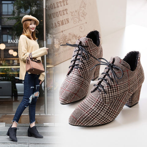 2018 Winter New Stryle Women Boots Plaid Ankle Boots Lace UP Booties Jacquard Fabric Woman Shoes High Heels Botas Mujer 6848
