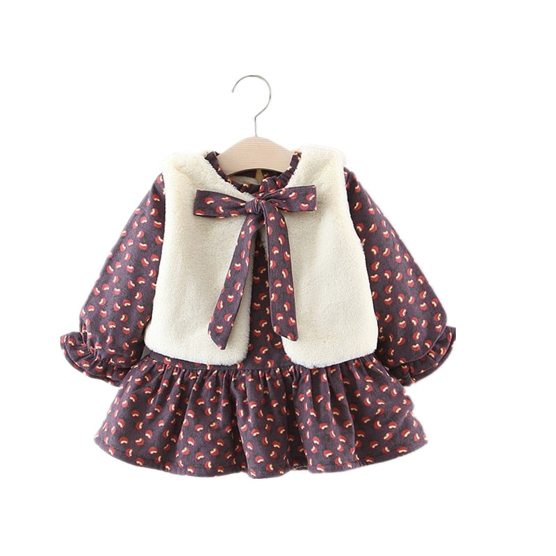 2018 Winter Rose Print Baby Girl Dress With Faux Fur Vest Fashion Long Sleeve 1 Birthday Flannel Princess Kids Dresses For Girls - thefashionique
