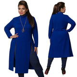 2018 Winter Women Dress Plus Size Women Clothing Long Sleeve High Slit T shirt Dress Maxi Tops 6XL Simple Dress Large Vestidos - thefashionique