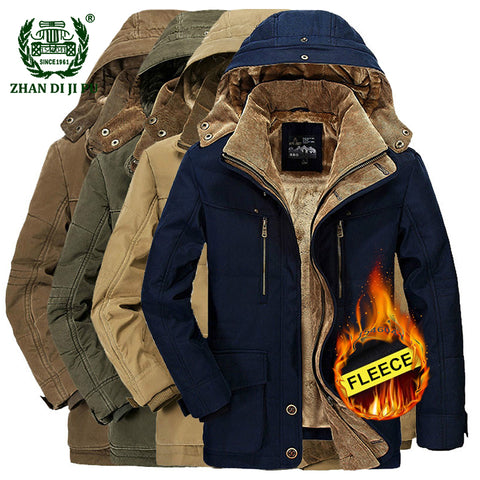 2018 Winter thicken warm men black blue hooded jacket man casual brand cotton khaki afs jeep fleece thick jacket plus size coats