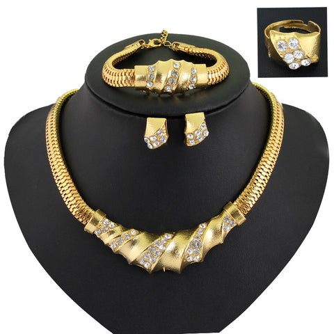 2018 Women Fashion Jewelry Sets Gold Collar  geometric Necklaces Earrings Bracelet adjustable ring Jewelry Sets & More Party - thefashionique