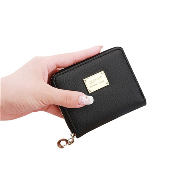2018 Women Leather Small Wallet Card Holder Zip Coin Purses Clutch Handbag Fashion Women Clutch Purses Carteira Feminina - thefashionique