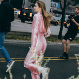 2018 Women Sexy Quality Zipper Pink Jumpsuits Waist Slim Bodysuit Long Sleeve Body Suit Playsuit Street Fashion Ladies Bodycon - thefashionique