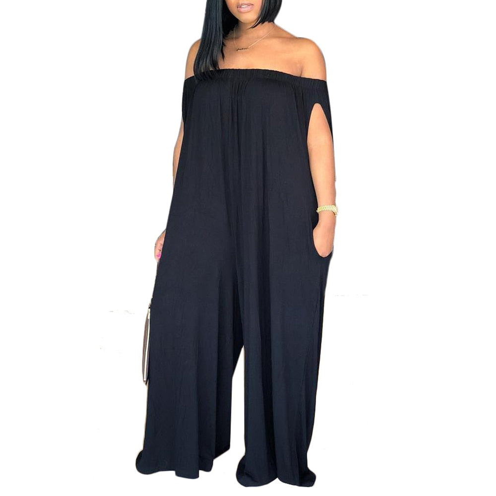 2018 Women Sexy Summer Off The Shoulder Loose Pockets Jumpsuit Playsuit Wide Leg Rompers Long Pants Trousers - thefashionique