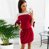 2018 Women Summer New Fashion Elegant Hollow Out Lace Dress Vintage Feminina Vestidos Female Short Casual Party Dresses - thefashionique