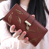 2018 Women Wallet Purse Female Long Wallet Gold Hollow Leaves Pouch Handbag For Women Coin Purse Card Holders Portefeuille Femme - thefashionique