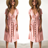 2018 Women's Fashion Summer Short Sleeve V Neck Button Down Swing Midi Dress with Pockets Beach Summer Dress - thefashionique
