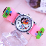 2018 girls lovely Dora animation quartz watch 3D pink little kids electronic clock silicone strap fashion cute children watches - thefashionique