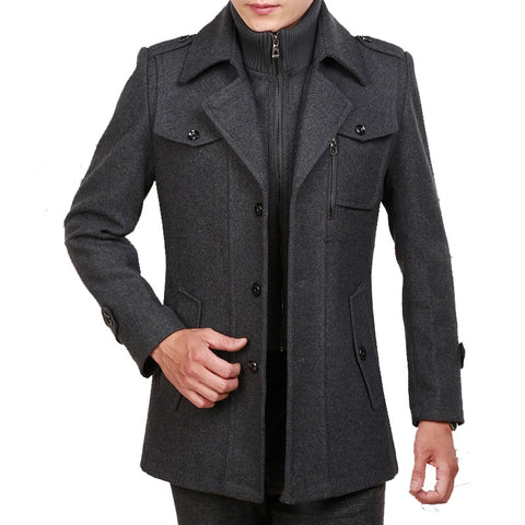 2018 new arrive Autumn and winter  thick lapel men  coat long double collar wool woolen male businese casual jacket