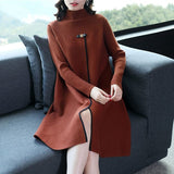 2018 new fashion autumn and winter women's long-sleeved knitted sweater dress turtleneck Chinese Style split side red dresses - thefashionique
