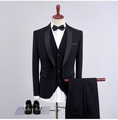 2018 new green collar collar suits men's casual suit male three-piece groom wedding dress - thefashionique
