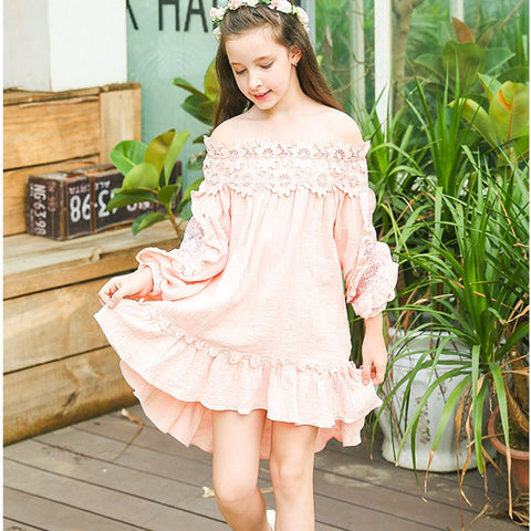 2018 new spring autumn dress for girl Princess big girl clothes princess teenage girls lace dress children's formal dresses