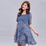 2018 plus size dress lace dress summer print beach dress 3xl&4xl&5xl casual dress women vestidos YI FENG WEI ER brand - thefashionique