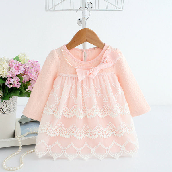 2018 spring autumn cotton pearls Kids clothes newborn Girls infant dress baby clothing baby girls dress vestido infantil 2 color - thefashionique