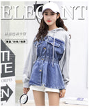 2018 spring new Fashion hooded sweater stitching denim jacket feamle high waist single breasted fake two pieces jacket wj1995 - thefashionique