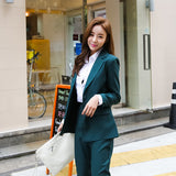 2018 spring summer Business Women 2 Piece interview suit set uniform Long-sleeved  Blazer and Pencil Pant Office Lady suits - thefashionique