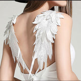 2018 summer sexy mini dress Women's Plunge V-neck Angel Wings Open Back Skater Evening Party Cami Mini Dress - thefashionique