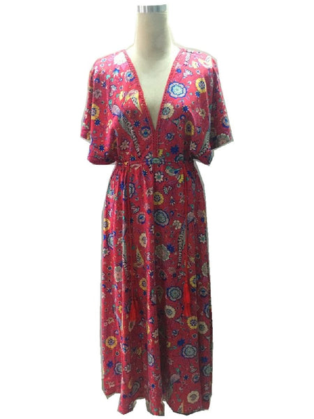 2018 vestidos dress red Floral print bat sleeve beach long Bohemian dresses women maxi  Ladies V neck Tassel Summer Boho dress - thefashionique