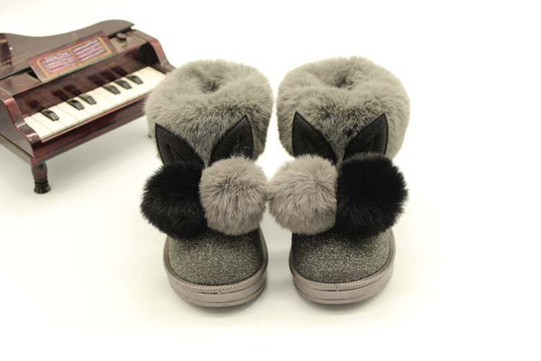 2017 winter new children snow boots big kids leather boots warm shoes with fur princess baby girls ankle boots