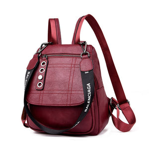 2019 3-in-1 Women Leather Backpacks Female Shoulder Bag Sac a Dos Travel Ladies Bagpack Mochilas School Bags For Girls Preppy - thefashionique