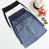 2019 5 Colors Available Summer New Arrival Fashion Denim Clothing Women Korean Style High Waist Denim Skirt Free Shipping - thefashionique