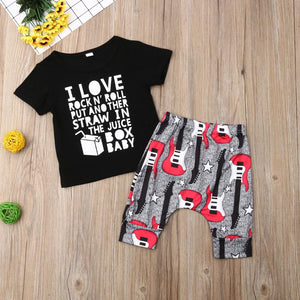 2019 Baby Boys Girls Clothes set Short Sleeve T-shirt + Pant 2PC Outfits Set Kids 12M-3Y I love Rock N' Roll Printed