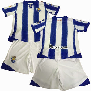 2019 Children Sets Real Sociedad uniforms boys and girls sports kids shirts+shorts training suits blank custom set - thefashionique