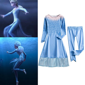 2019 Film Snow Queen 2 Replica Dress Suit for Girls Princess Elza Kid Cosplay Costume Halloween Child Elsa Disguise Clothing Set - thefashionique