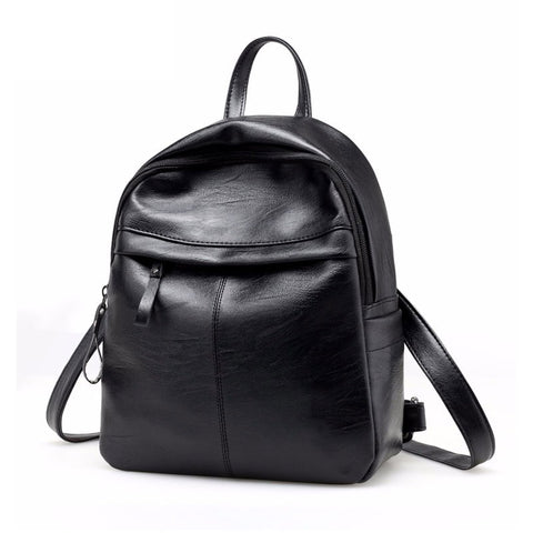 2019 High Quality PU Leather Women Backpack Fashion Solid School Bags For Teenager Girls Casual Black laptop shoulder - thefashionique