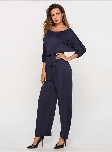 2019 Hot selling girls casual dark blue jumpsuits office lady fashion slim soft romper clothing sleeve sexy jumps with pant#A169 - thefashionique