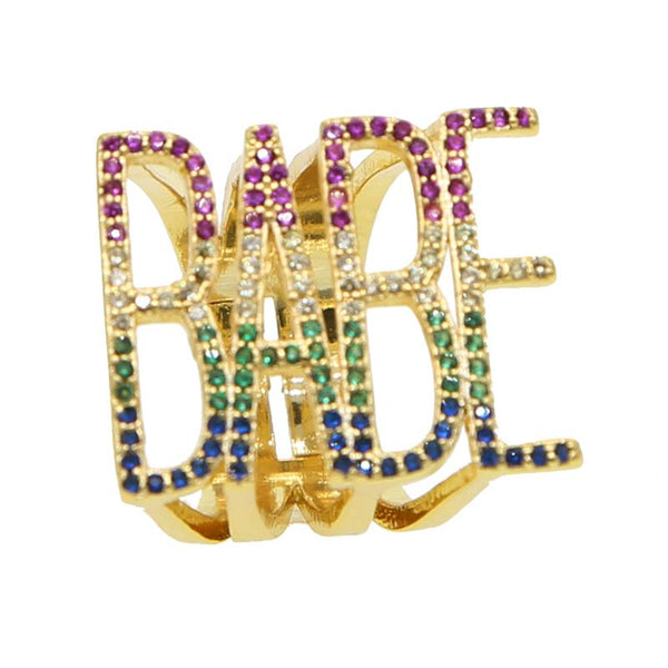2019 Lastest Fashion Personality Rainbow Cubic Zircons Letter BABE Rings For Lover Anniversary Gifts Trendy Punk Finger Jewelry - thefashionique