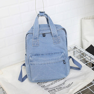 2019 Literary Small Fresh Shoulder Bag Female Korean Version Of The College Wind Denim Backpack Simple Wild Student Bag - thefashionique